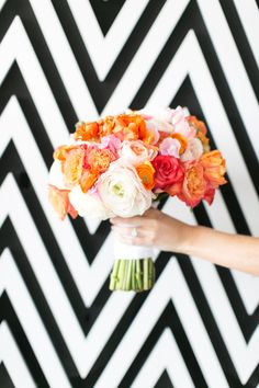 Pretty flowers with a chevron background.