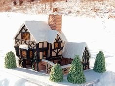 Country-Style Gingerbread Houses - Gingerbread Houses - Country Living!!! Bebe'!!! Great Gingerbread Farmhouse!!!