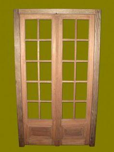 Puerta sal n 6 cristales 3 lateral fijo fondo vidrio for Puertas dobles de madera