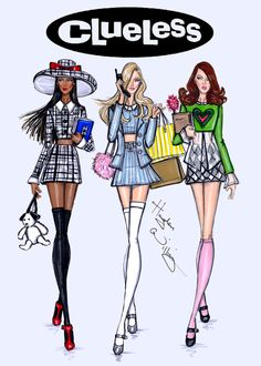 CELEBRITIES ☆ Stacey Dash, Alicia Silverstone and Brittany Murphy - 'Clueless' Movie 18th Anniversary (2013) - Illustration by Hayden Williams