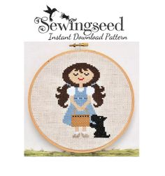 INSTANT DOWNLOAD Dorothy and Toto, Wonderful Wizard of Oz cross stitch pattern via Etsy