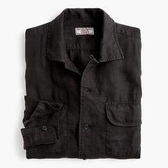 c0e52e104ac0 J.Crew Wallace   Barnes camp-collar shirt in black Collar Shirts