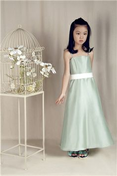 Chic Spaghetti Straps Ankle-length Flower Girl Dress
