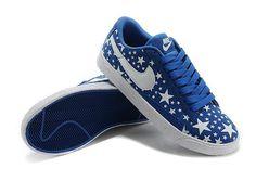 Cheap 536698 016 Nike Blazer low leather blue white women shoes