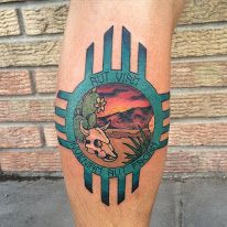 Tinta Cantina - Jenny Kladzyk Tattoo Albuquerque. Zia symbol tattoo. Landscape. New Mexico sunset