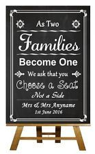 Chalkboard Pick A Seat Not A Side Personalised Wedding Sign / Poster