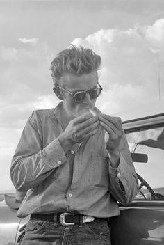 James Dean on the set of Giant, Marfa, Texas, 1955