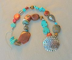 Tribal Necklace Turquoise Necklace Statement necklace by FunNFiber