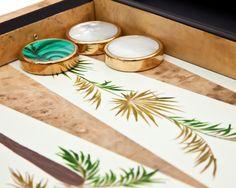 Detail of a Palm Tree Backgammon board by Alexandra Llewellyn. Stunning.