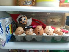 Elf on the self in the fridge. Draw faces on eggs with black maker. Elf on the self in the fridge. Draw faces on eggs with black maker. Noel Christmas, Christmas Elf, Christmas Crafts, Cute Christmas Ideas, To Do App, Awesome Elf On The Shelf Ideas, Bonbon Halloween, Der Elf, Elf Auf Dem Regal
