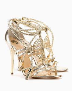 Sandali dorati con tacco alto Elisabetta Franchi estate 2015 prezzo 456 euro