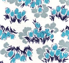 Tulips in blu. #vintage #fabric #inspiration