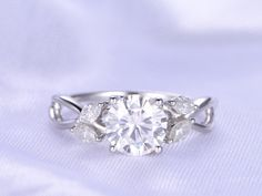 Moissanite Engagement Ring 7mm Round Cut Charles&Colvard Stone Art Deco Moissanite Matching Band Vintage Floral Pormise Ring Valentine by milegem on Etsy