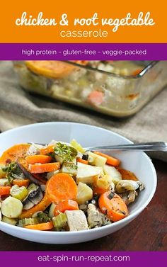 Chicken and Root Vegetable Casserole  - a veggie-packed fall or winter dinner. This freezes well so feel free to make a double batch!