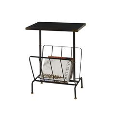 Iron Ore Finished Brass and Iron Occasional Table with Magazine Rack