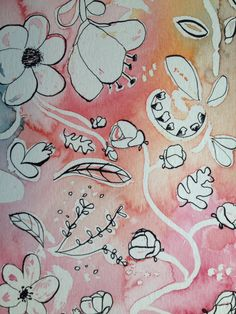 Watercolour and ink flower art