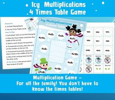Printable Memory Games/ Kids Games Party/ Times Table/ Board Games/Fun Multiplication/ Travel Print and Play/ 4 Times Table/ Fun Maths Games Math Games For Kids, Kids Party Games, Games To Play, Activities For Kids, Christmas Party Games, Christmas Activities, 4 Times Table, Multiplication Games, Memory Games