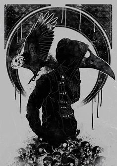 scary Illustration skulls art creepy horror dark skull skeleton raven doctor Macabre crow grotesque obscure plague doctor artist on deviantart dottore Creepy Horror, Creepy Art, Horror Art, Dark Fantasy Art, Tattoos Bein, Doctor Drawing, Tattoo Bauch, Doctor Tattoo, Arte Indie
