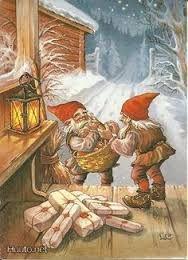 Bildresultat för Three gnomes on skis on porch of snow-covered cottage