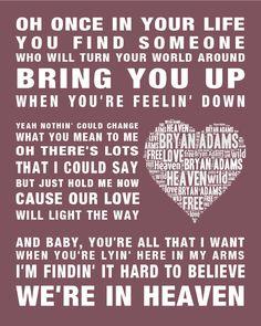 Bryan Adams music song lyrics Heaven Word Art Print Poster Wedding Engaged Gift