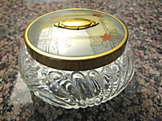Very pretty vintage vanity jar with metal and celluloid lid, for sale at More Than McCoy on TIAS