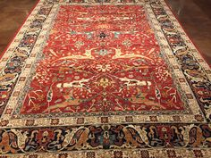 HERIZ RUG this rug embodies the spirit and heritage of traditional Oriental weaving. The unmistakeable beauty of the iconic Heriz all-over design distinguish this gorgeous rug. Lovely classic color in this beautifully decorative rug.