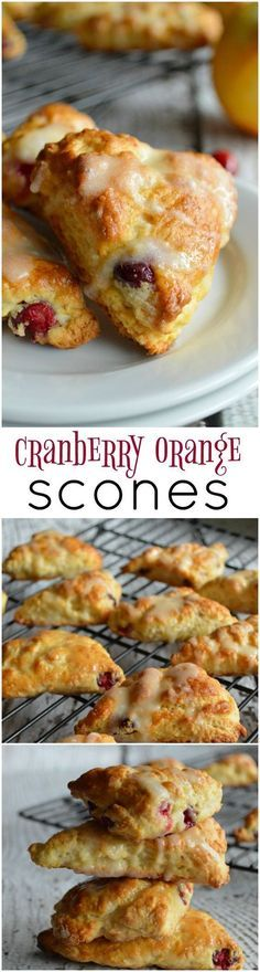 Cranberry Orange Scones are loaded with fresh cranberries, orange zest, and are topped with a yummy sweet orange glaze. Cranberry Orange Scones are loaded with fresh cranberries, orange zest, and are topped with a yummy sweet orange glaze. Just Desserts, Delicious Desserts, Yummy Food, Cranberry Orange Scones, Orange Zest, Cranberry Muffins, Lemond Curd, Brunch Recipes, Dessert Recipes