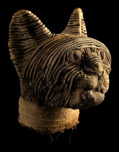 The Head from a Mummified Cat. Egypt. Late to Ptolemaic Periods, Circa 664-30 B.C. Truly Incredible Facial Details!!!