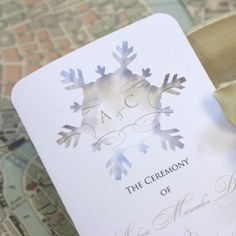 Timeless Paper Winter Wedding Programs Invitations Weddings Snowflake