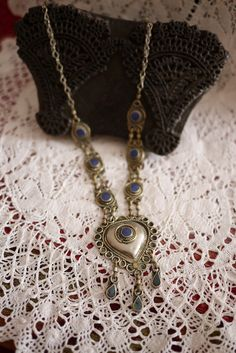Blue Afghani Tribal Heart Necklace