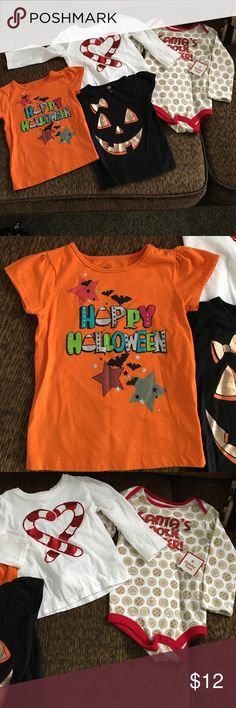 Holiday tops.  Halloween and Christmas. 4 tops for your little girl.  Halloween and Christmas.  2 new and 2 worn once for pictures.  In excellent condition.   Size 24 mths. Shirts & Tops Tees - Short Sleeve