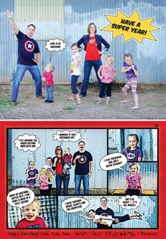 Super Cute Super Hero Comic Strip New Years Card