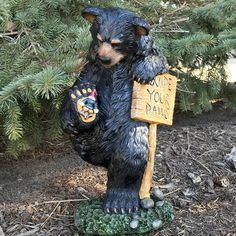 Design House Wipe Your Paws Bear Statue Size: Wood Carving Art, Wood Art, Wood Carvings, Wall Wood, Carving Tools, Black Bear Decor, Bear Statue, Bear Art, Garden Statues