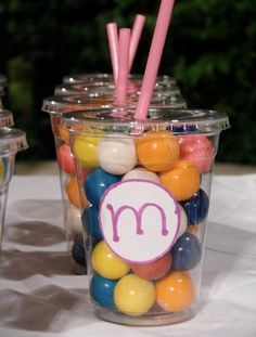 We gave these gumball cups out for birthday party goody bags.