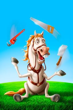 """The topic of this illustration was avoiding """"Horseplaying"""". It means to goof around or rough house. Paintool Sai and Photoshop. Funny Horses, Tinkerbell, Illustrator, Artworks, Disney Characters, Fictional Characters, Disney Princess, Cartoons, Humor"""