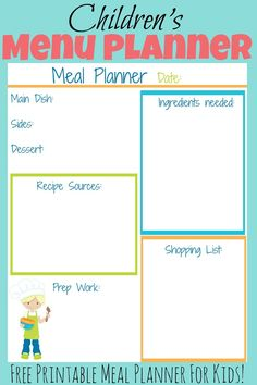 Genius Drops Focus Vitamins for Kids This free printable kid& meal planner will help your child to easily plan out a meal for your family. This is a great recourse to use when teaching kids how to cook! Cooking Classes For Kids, Cooking With Kids, Cooking Tips, Cooking School, Cooking Videos, Easy Cooking, Cooking Lamb, Cooking Food, Cooking Light