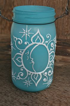 Jar Lantern, Sun and Moon face with Swirls and Stars, Tinted frosty blue, Canning Jar Lighting Mason Jar Art, Pot Mason Diy, Mason Jar Lanterns, Mason Jar Crafts, Bottle Crafts, Wine Bottle Vases, Painted Wine Bottles, Painted Mason Jars, Bottle Art