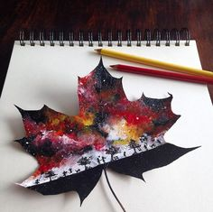 Des peintures de paysages sur des feuilles mortes par Joanna Wirazka Dessein de dessin