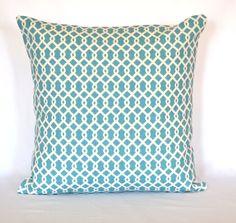 Turquoise designer Pillow decorative pillow accent pillow 18x18 inches Trellis cushion cover