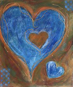God heeft in plek in Zijn Hart waar alleen jij in past.  Acryl op doek 40/50 cm.