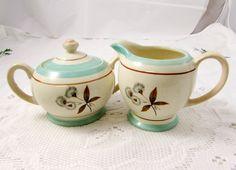 Vintage Sadler Cream and Sugar Set, Sugar Bowl with Lid, Creamer