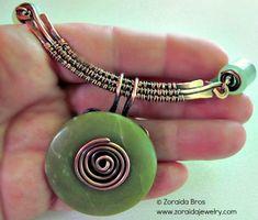 wire wrapped donut jewelry | Jade Donut Necklace