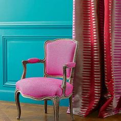 Manuel Canovas is unmistakably French in style with each new collection inspired by the spirit of the art de vivre associated with 18th century France yet re-interpreted to contemporary taste. Luxurious fabrics are instantly recognisable by bold and unusual color harmonies, in company with vibrant shades of rose Indian, anis, amethyst and turquoise.  Extreme refinement for these large theatrical and luxurious stripes with a beautiful ikat motif in a flamboyant colour palette.  Montana 04828…
