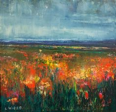 """Contemporary Artists of Kansas: Palette Knife Landscape Flower Oil Painting """"Rain Flowers"""" by Artist Lindy Wiese"""