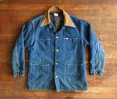 Vintage 1960s Mens LEE Flannel Lined Indigo Denim CHORE COAT Jacket Size Large Levis Wrangler Jeans