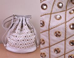 Vintage  80s  White Leather  Gold Stitching  by starlingdarlin