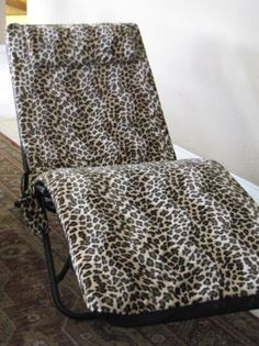 Leopard Print Folding Lounge Chair - $15