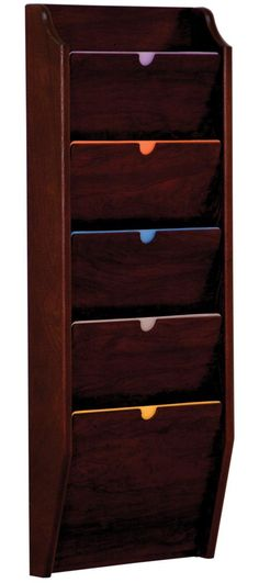 Wood Privacy Chart Holder | Tiered File Folder Rack for Wall