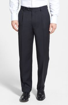 Nordstrom Pleated Wool Gabardine Trousers available at #Nordstrom