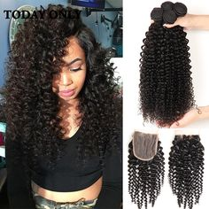 Peruvian Virgin Hair with Closure 10A Grade Virgin Unprocessed Human Hair with Closure Afro Kinky Curly Virgin Hair with Closure //Price: $115.52 & FREE Shipping //     #hairextension #style #beauty #woman #love